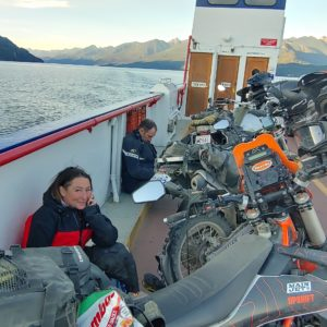 motorcycle riders resting travelling on Kootenay Lake ferry