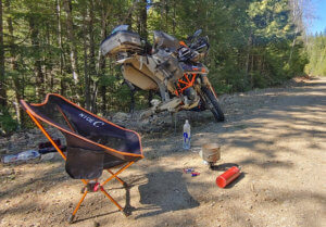 motorcycle repair on the side of the road