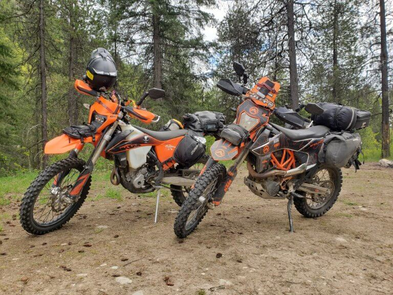 2 ktm motorcycles for camping
