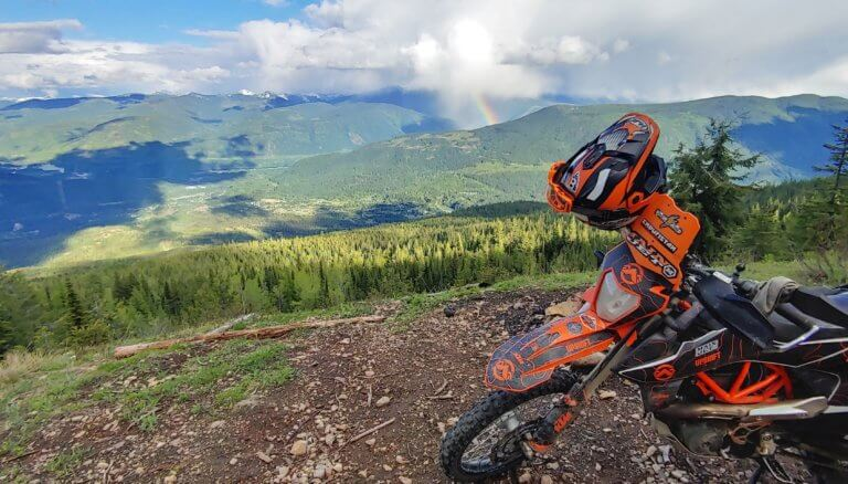 KTM 690 motorbike with a view