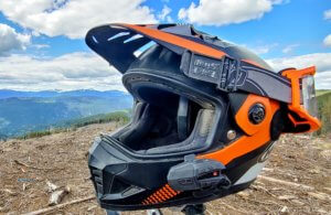 Helmet with UCLEAR Motion6 mounted on side