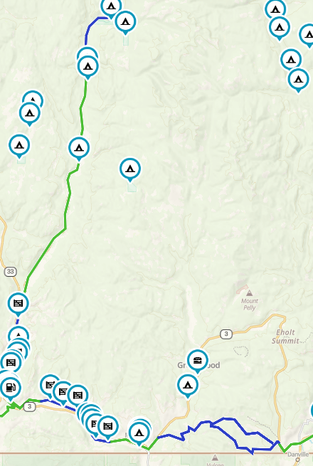 Map of West Kootenay Motorcycle Route