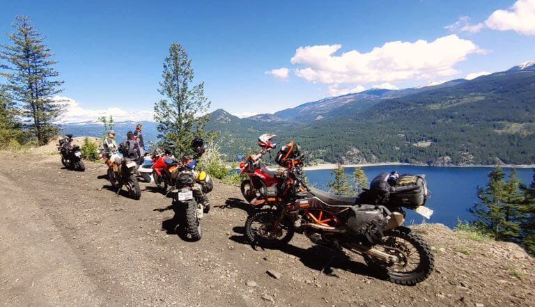 group of motorcycles at lower arrow lake
