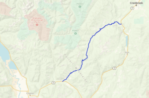 map of Moyie River FSR motorcycle route